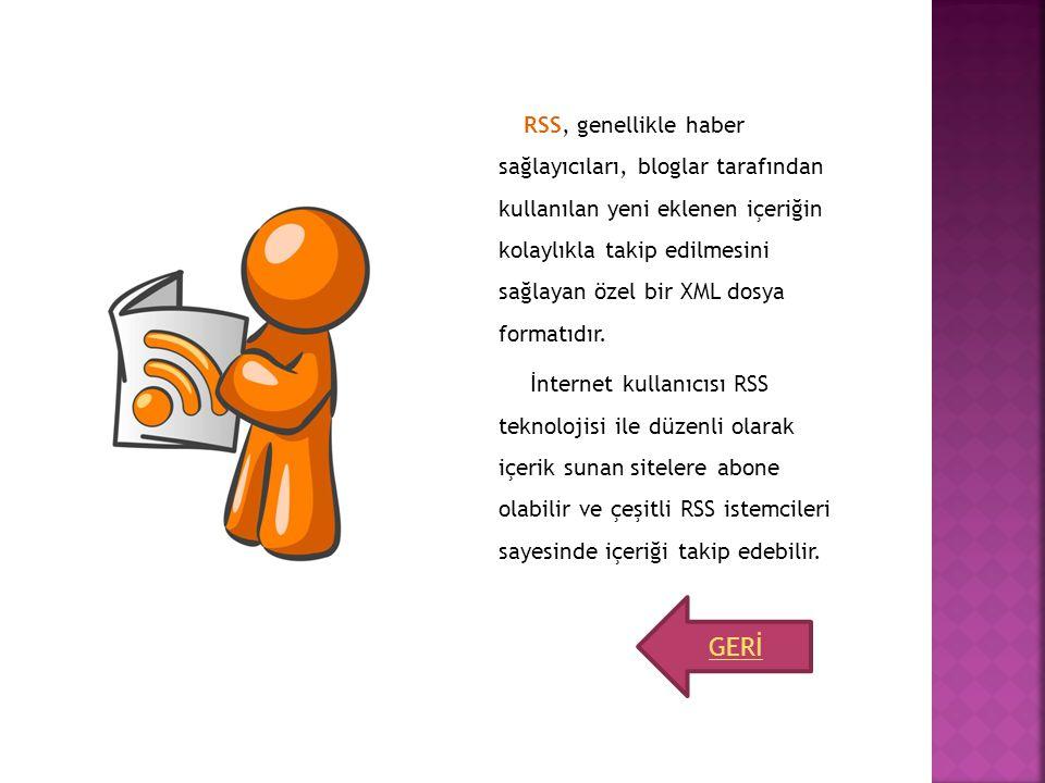 RSS, genellikle haber sağlayıcıları, bloglar tarafından kullanılan yeni eklenen içeriğin kolaylıkla takip edilmesini sağlayan özel bir XML dosya formatıdır. İnternet kullanıcısı RSS teknolojisi ile düzenli olarak içerik sunan sitelere abone olabilir ve çeşitli RSS istemcileri sayesinde içeriği takip edebilir.