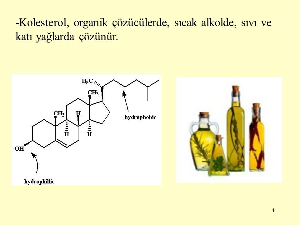 -Kolesterol, organik çözücülerde, sıcak alkolde, sıvı ve katı yağlarda çözünür.