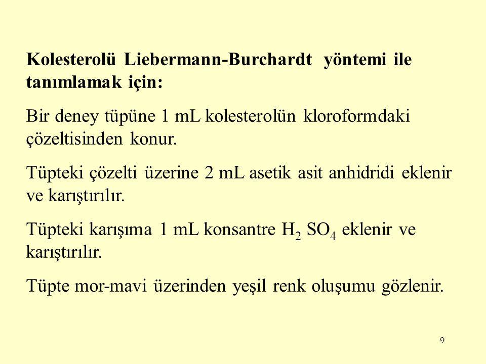 Kolesterolü Liebermann-Burchardt yöntemi ile tanımlamak için: