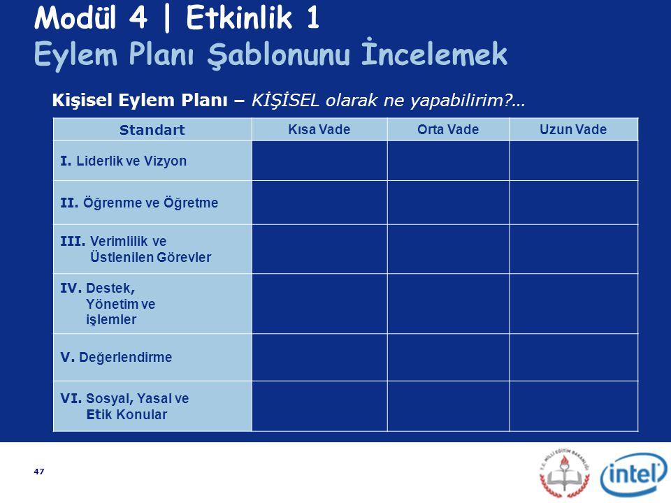 Modül 4 | Etkinlik 1 Eylem Planı Şablonunu İncelemek