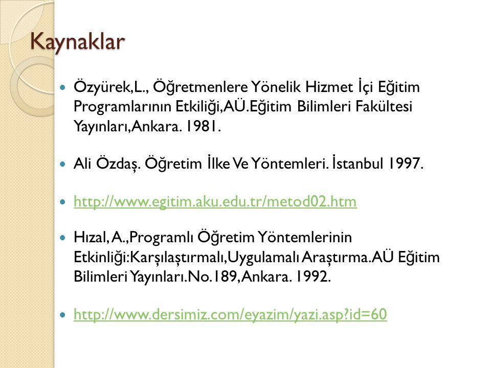 Kaynaklar Özyürek,L., Öğretmenlere Yönelik Hizmet İçi Eğitim Programlarının Etkiliği,AÜ.Eğitim Bilimleri Fakültesi Yayınları,Ankara. 1981.