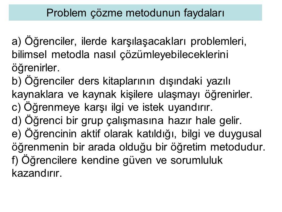 Problem çözme metodunun faydaları