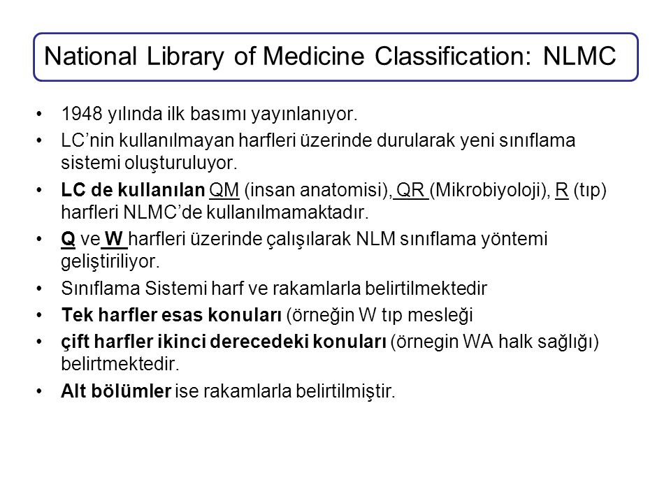National Library of Medicine Classification: NLMC