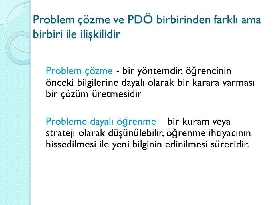 Problem çözme ve PDÖ birbirinden farklı ama birbiri ile ilişkilidir