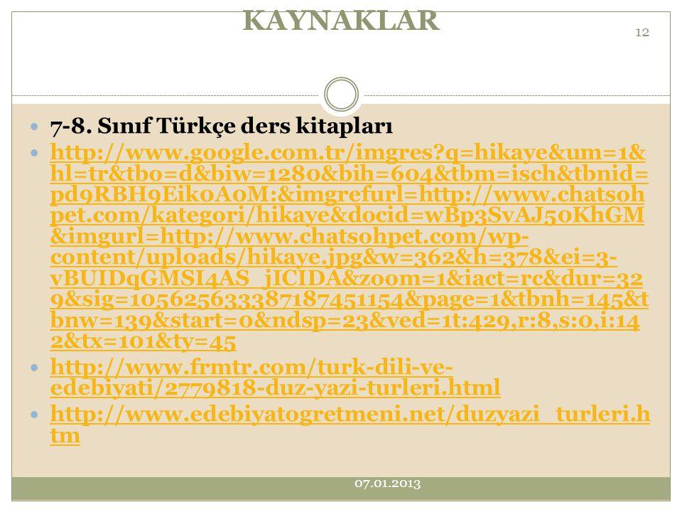 KAYNAKLAR 7-8. Sınıf Türkçe ders kitapları