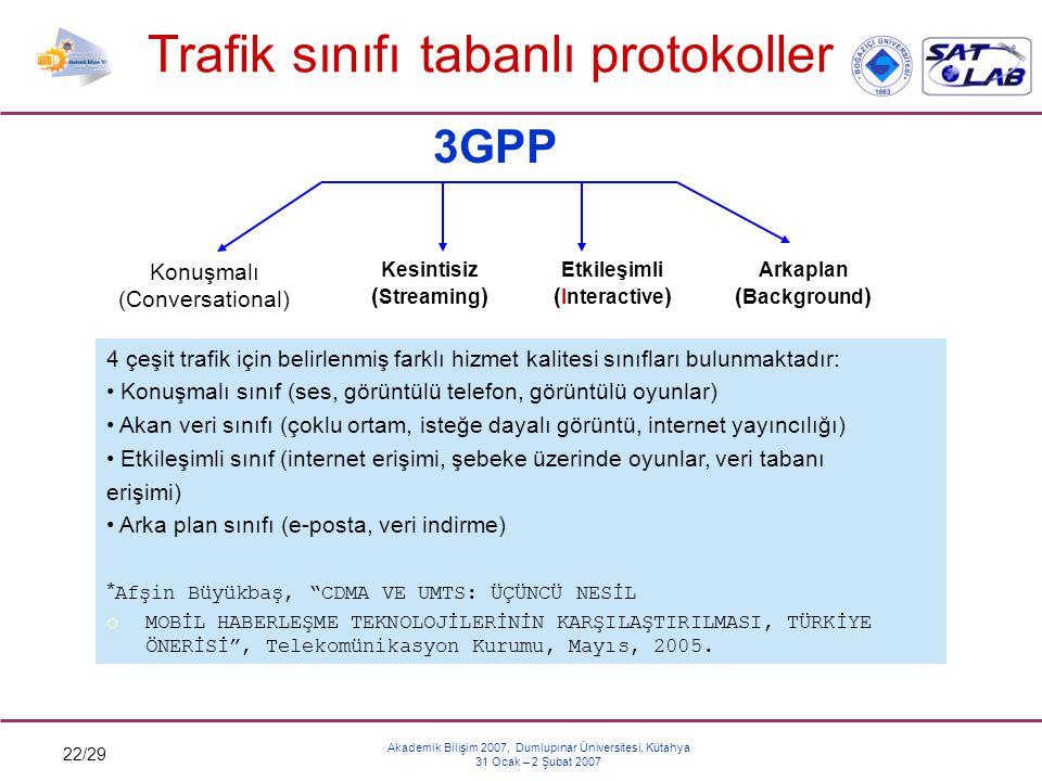 Trafik sınıfı tabanlı protokoller