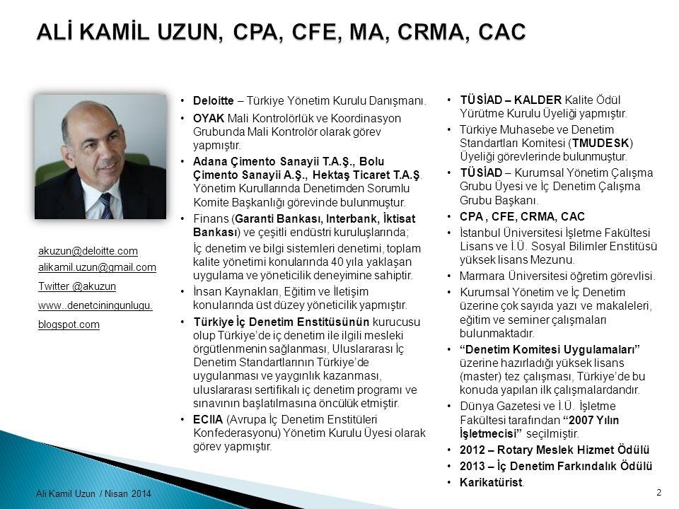 ALİ KAMİL UZUN, CPA, CFE, MA, CRMA, CAC