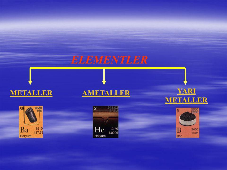 ELEMENTLER YARI METALLER METALLER AMETALLER