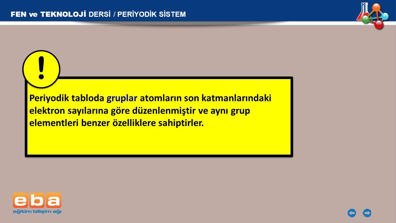 ! 11Na FEN ve TEKNOLOJİ DERSİ / PERİYODİK SİSTEM