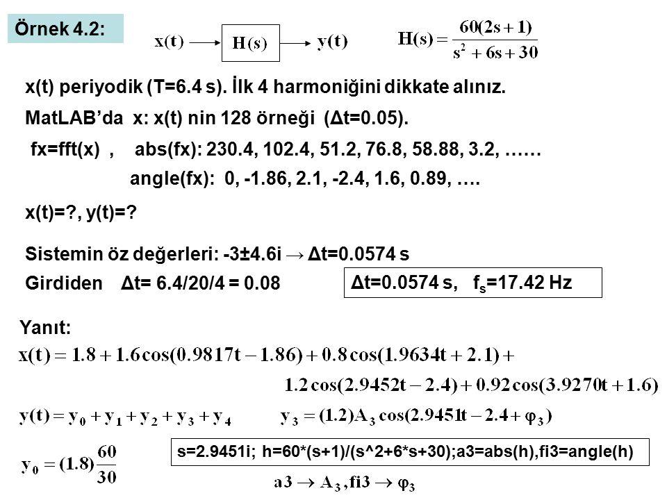 x(t) periyodik (T=6.4 s). İlk 4 harmoniğini dikkate alınız.