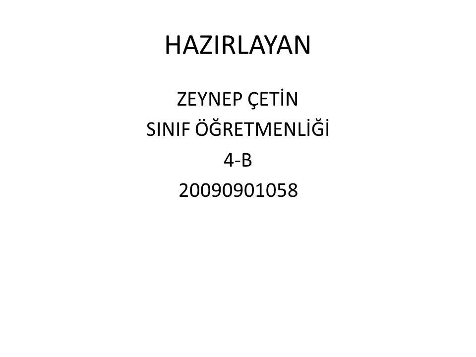 ZEYNEP ÇETİN SINIF ÖĞRETMENLİĞİ 4-B 20090901058