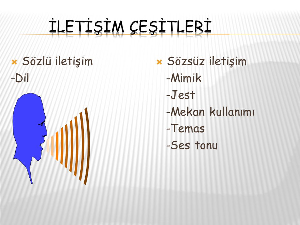 İLETİŞİM ÇEŞİTLERİ Sözlü iletişim -Dil Sözsüz iletişim -Mimik -Jest