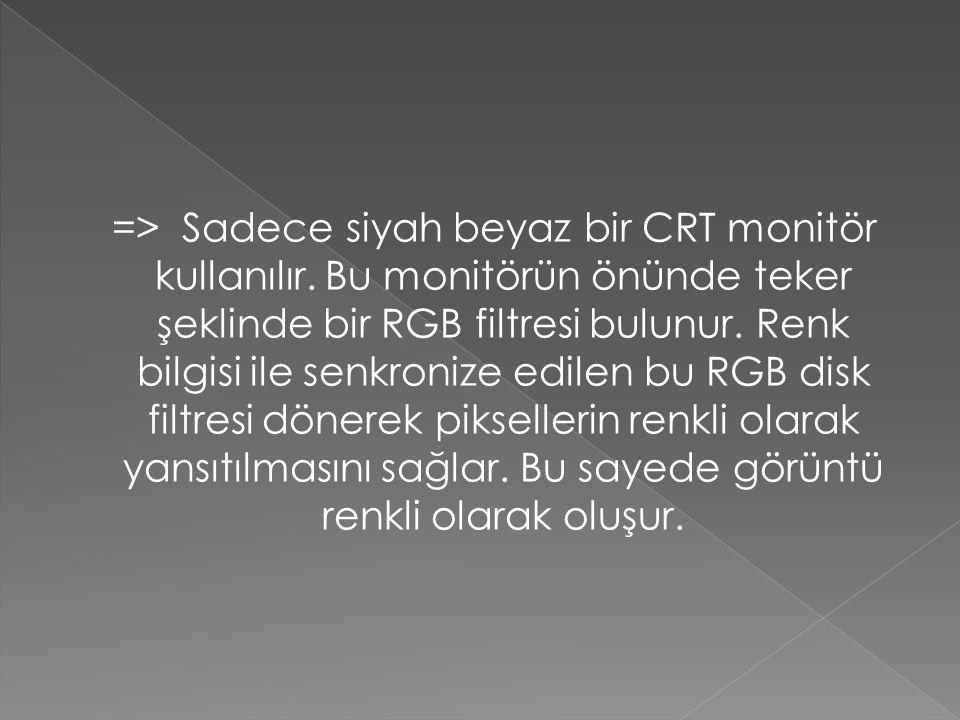 => Sadece siyah beyaz bir CRT monitör kullanılır