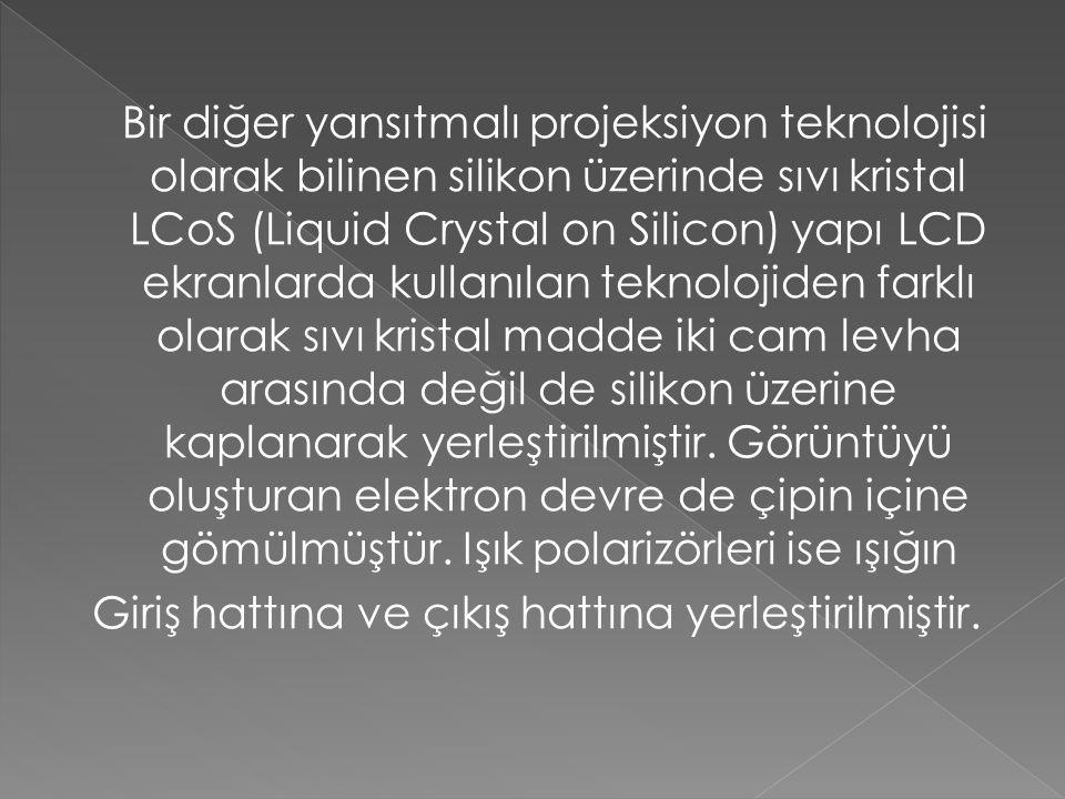 Bir diğer yansıtmalı projeksiyon teknolojisi olarak bilinen silikon üzerinde sıvı kristal LCoS (Liquid Crystal on Silicon) yapı LCD ekranlarda kullanılan teknolojiden farklı olarak sıvı kristal madde iki cam levha arasında değil de silikon üzerine kaplanarak yerleştirilmiştir.