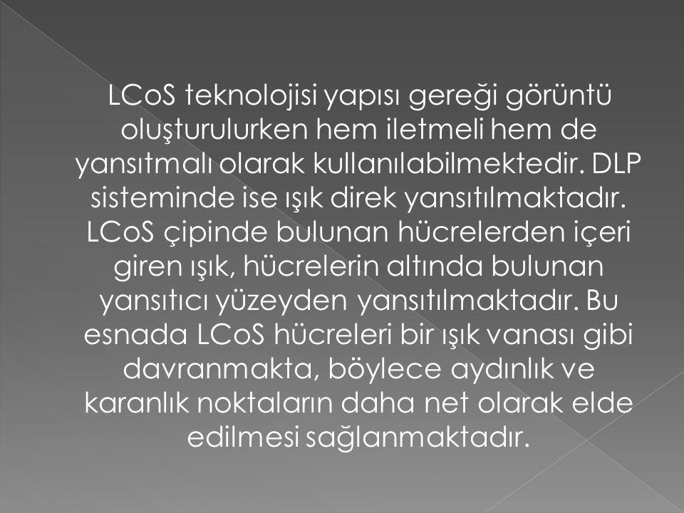 LCoS teknolojisi yapısı gereği görüntü oluşturulurken hem iletmeli hem de yansıtmalı olarak kullanılabilmektedir.