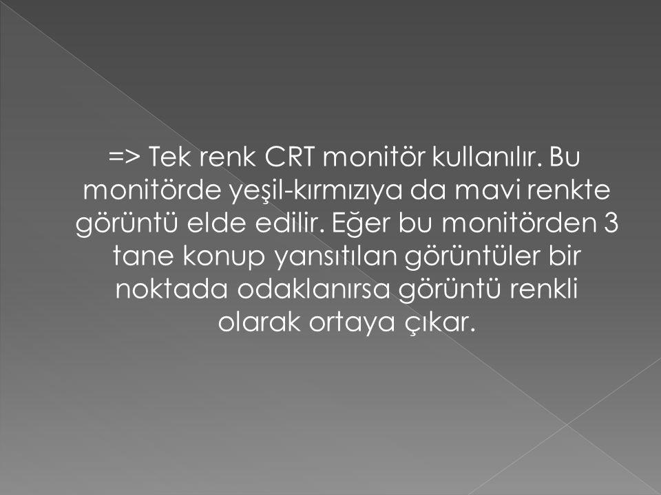 => Tek renk CRT monitör kullanılır