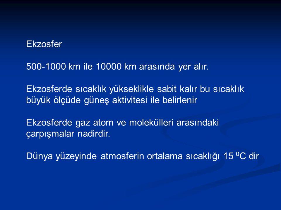 Ekzosfer 500-1000 km ile 10000 km arasında yer alır.
