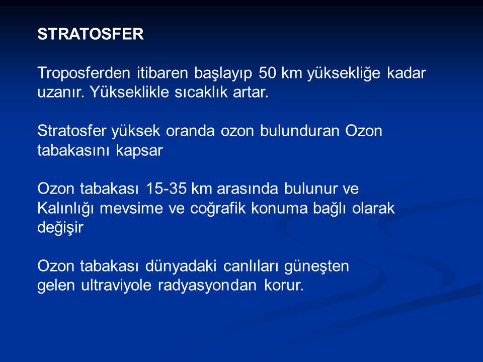 STRATOSFER Troposferden itibaren başlayıp 50 km yüksekliğe kadar uzanır. Yükseklikle sıcaklık artar.