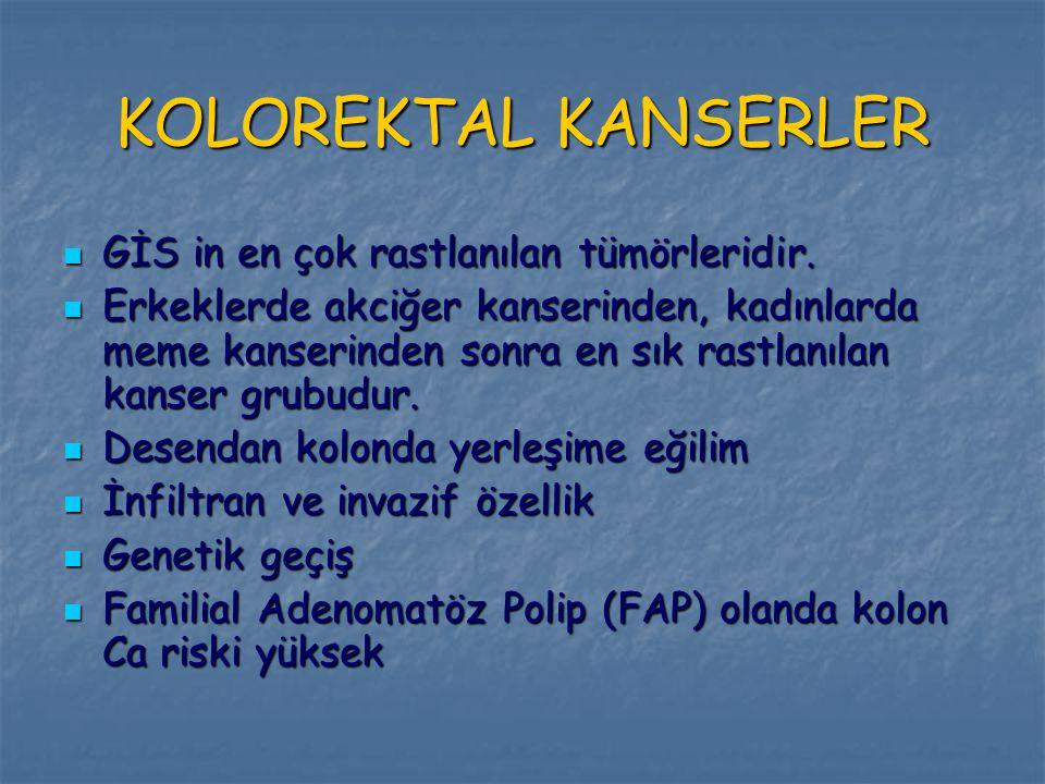 KOLOREKTAL KANSERLER GİS in en çok rastlanılan tümörleridir.