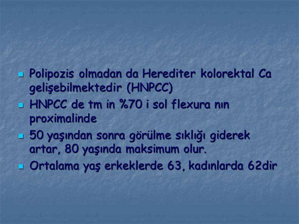 Polipozis olmadan da Herediter kolorektal Ca gelişebilmektedir (HNPCC)