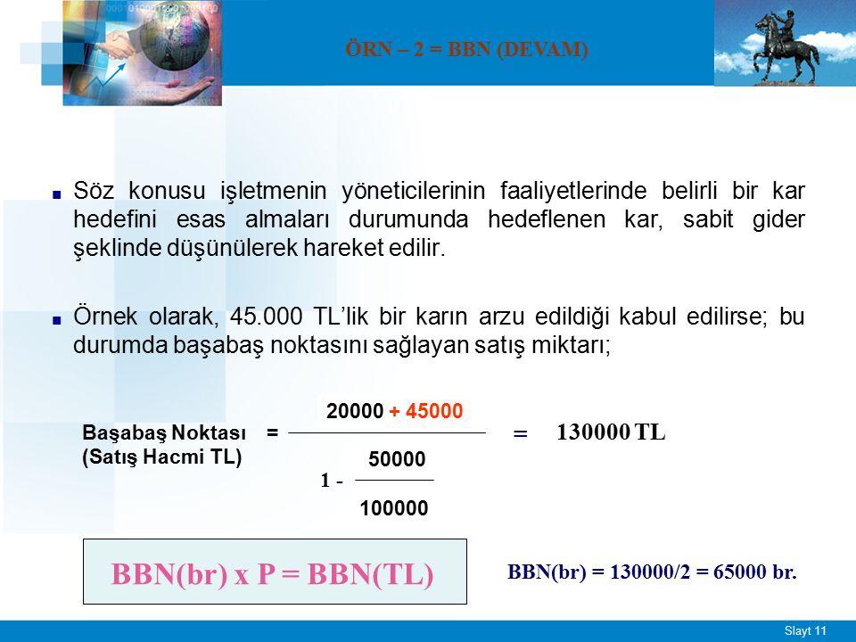 ÖRN – 2 = BBN Tek tip saat üretimi yapan bir firmaya ait bazı bilgiler