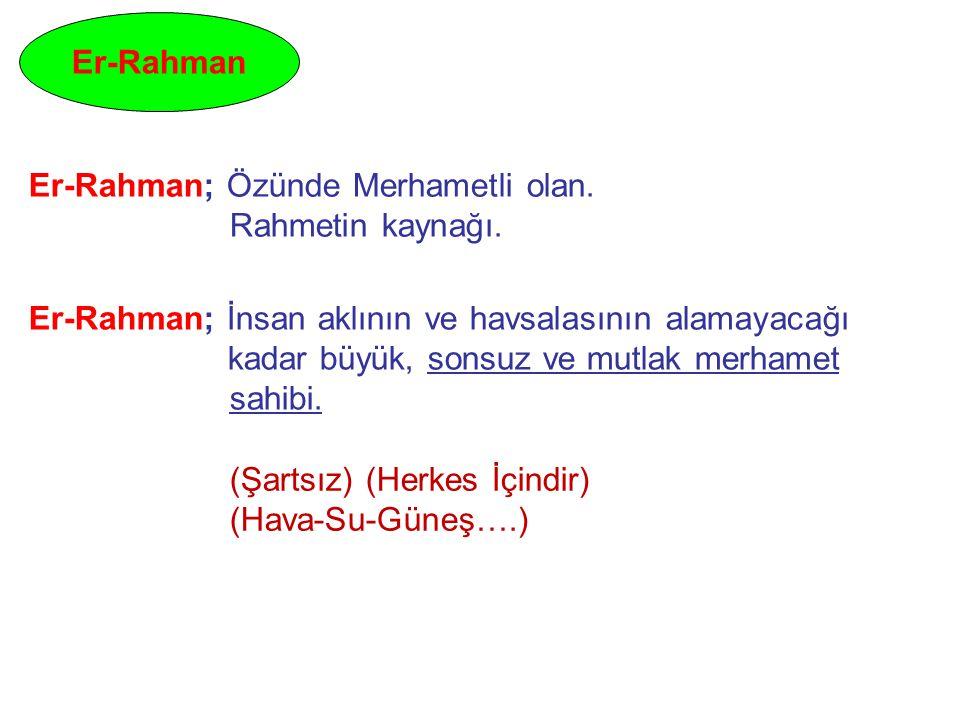 Er-Rahman Er-Rahman; Özünde Merhametli olan. Rahmetin kaynağı.