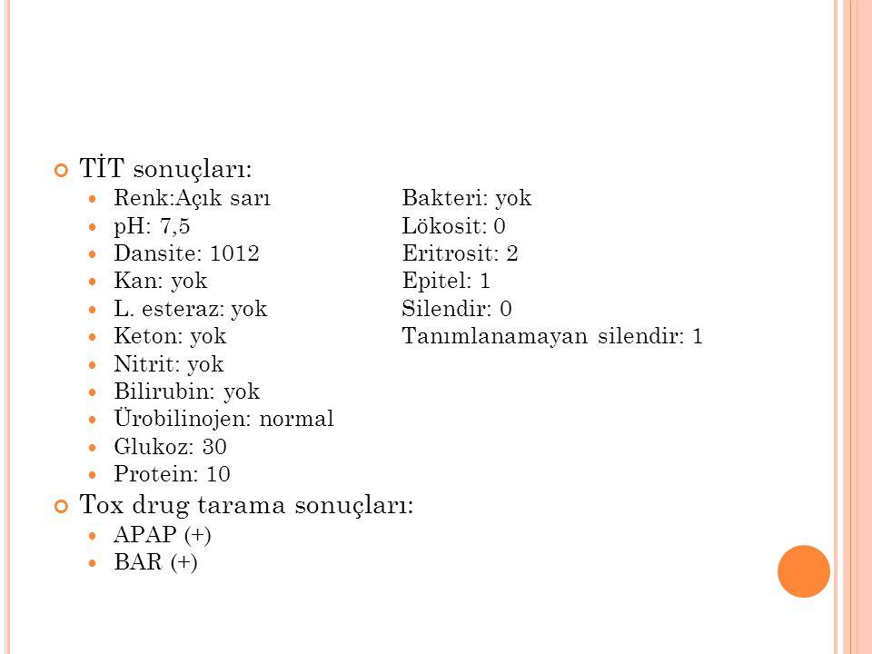Tox drug tarama sonuçları: