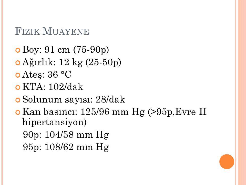 Fizik Muayene Boy: 91 cm (75-90p) Ağırlık: 12 kg (25-50p) Ateş: 36 °C