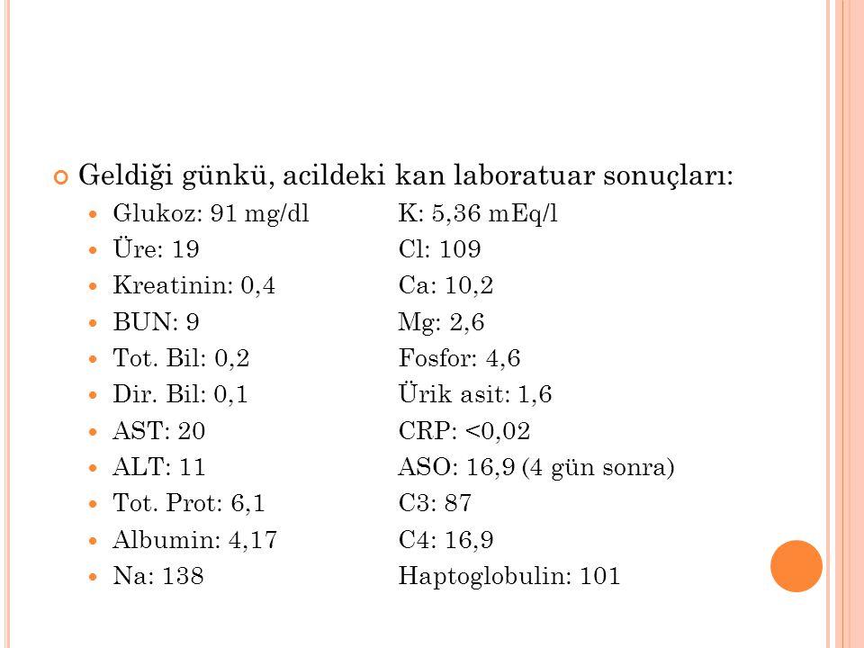 Geldiği günkü, acildeki kan laboratuar sonuçları: