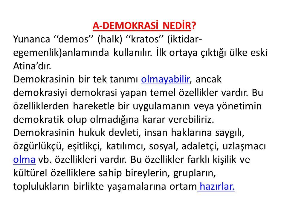 A-DEMOKRASİ NEDİR Yunanca ''demos'' (halk) ''kratos'' (iktidar-egemenlik)anlamında kullanılır. İlk ortaya çıktığı ülke eski Atina'dır.