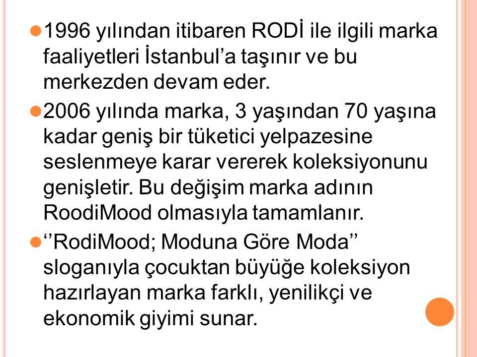 1996 yılından itibaren RODİ ile ilgili marka faaliyetleri İstanbul'a taşınır ve bu merkezden devam eder.