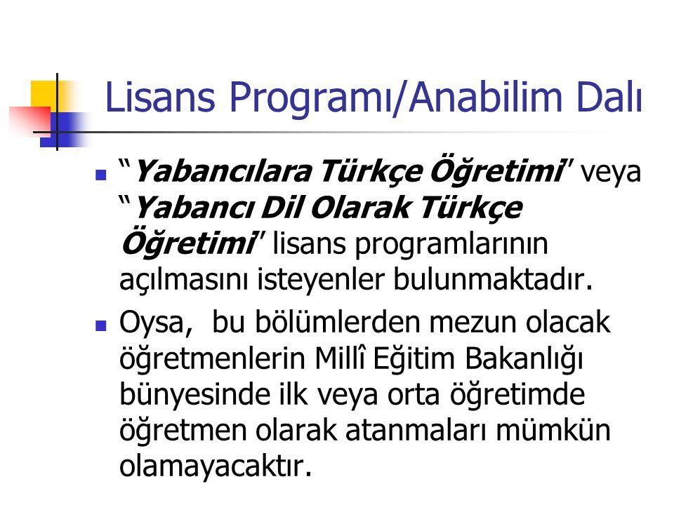 Lisans Programı/Anabilim Dalı