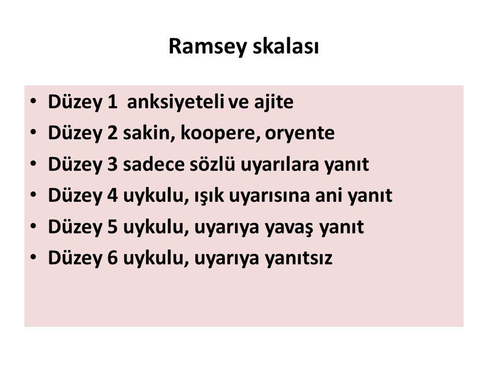 Ramsey skalası Düzey 1 anksiyeteli ve ajite