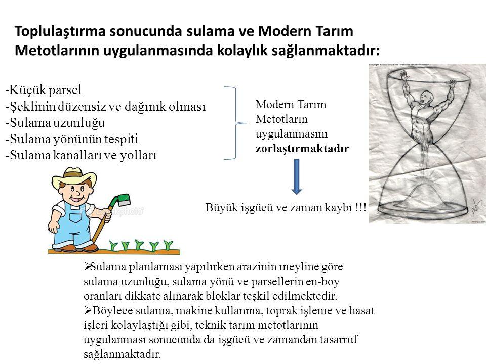 Toplulaştırma sonucunda sulama ve Modern Tarım Metotlarının uygulanmasında kolaylık sağlanmaktadır: