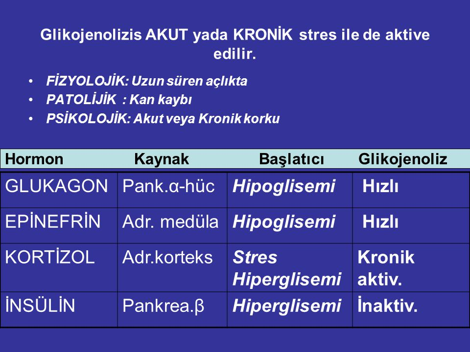 Glikojenolizis AKUT yada KRONİK stres ile de aktive edilir.