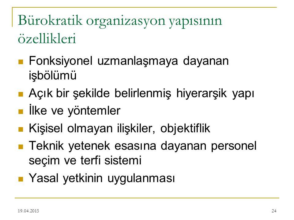 Bürokratik organizasyon yapısının özellikleri