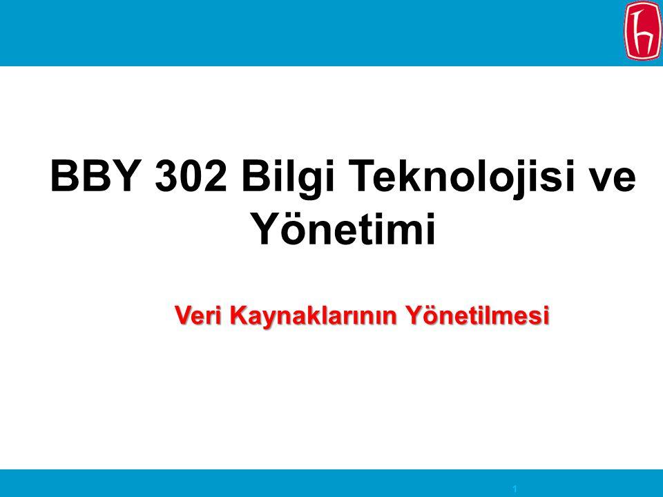 BBY 302 Bilgi Teknolojisi ve Yönetimi Veri Kaynaklarının Yönetilmesi