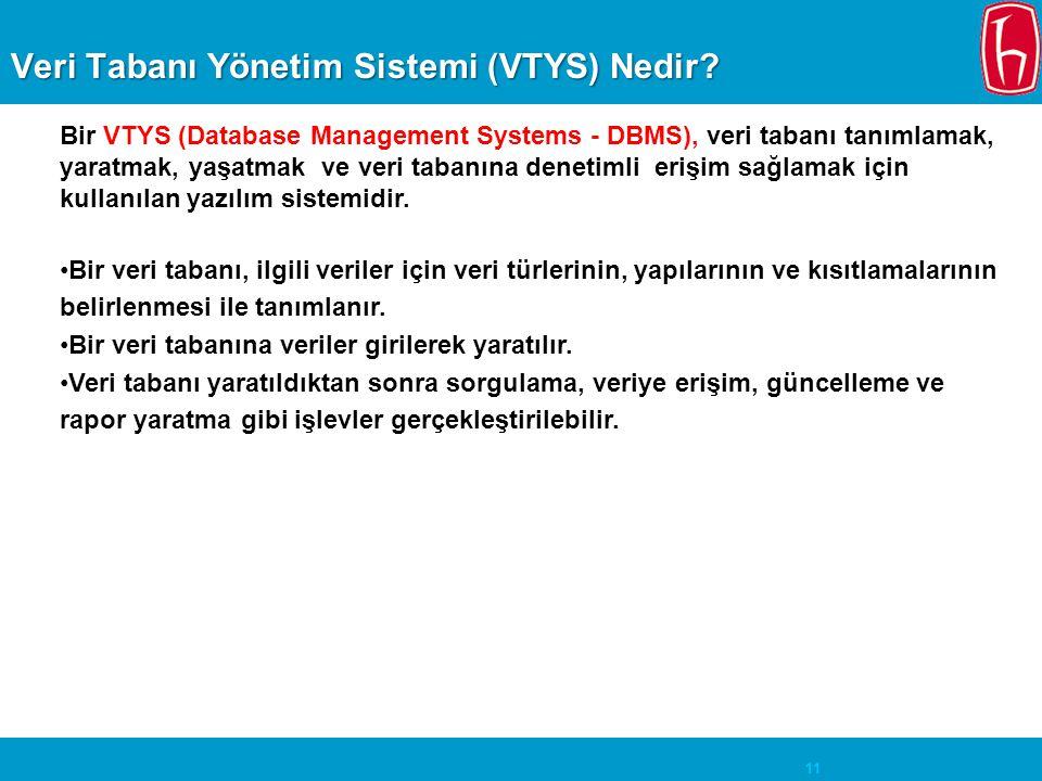 Veri Tabanı Yönetim Sistemi (VTYS) Nedir