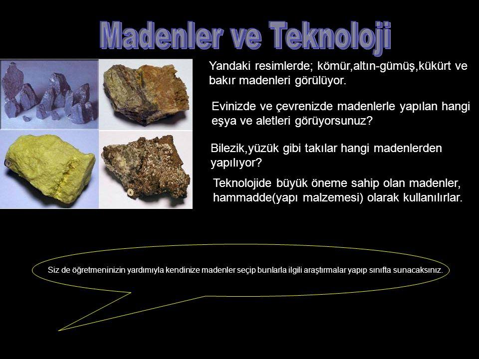 Madenler ve Teknoloji Yandaki resimlerde; kömür,altın-gümüş,kükürt ve