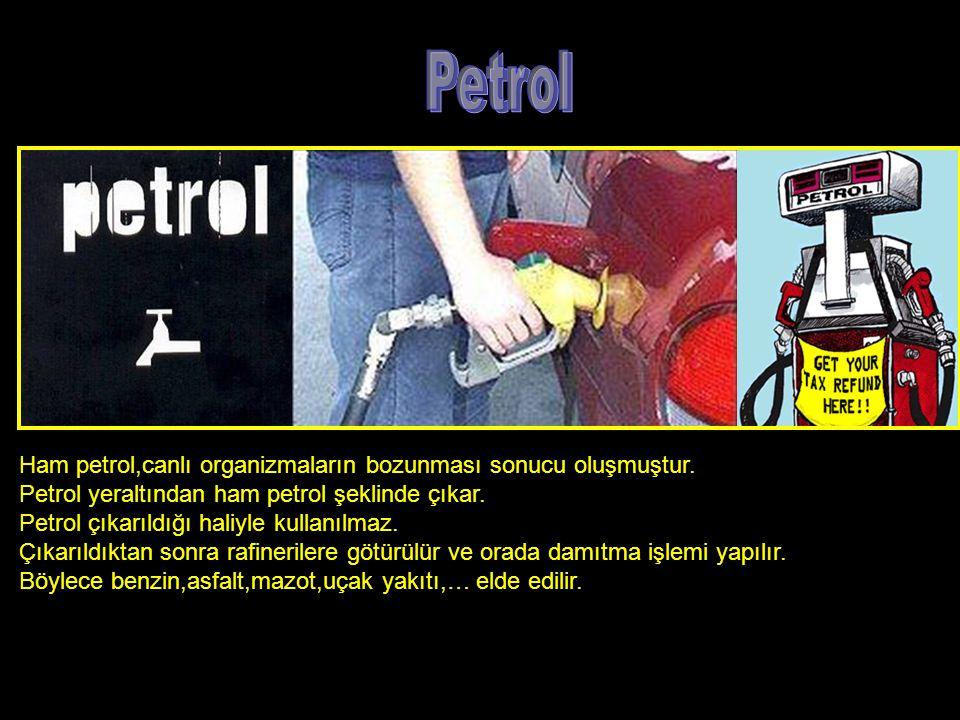 Petrol Ham petrol,canlı organizmaların bozunması sonucu oluşmuştur.