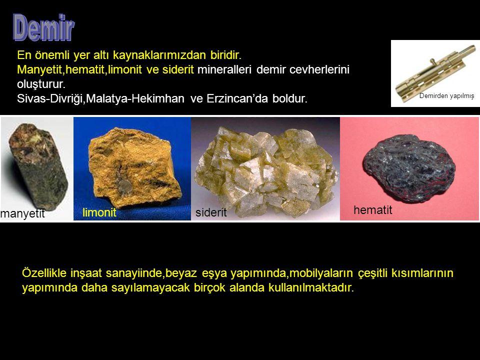 Demir En önemli yer altı kaynaklarımızdan biridir.