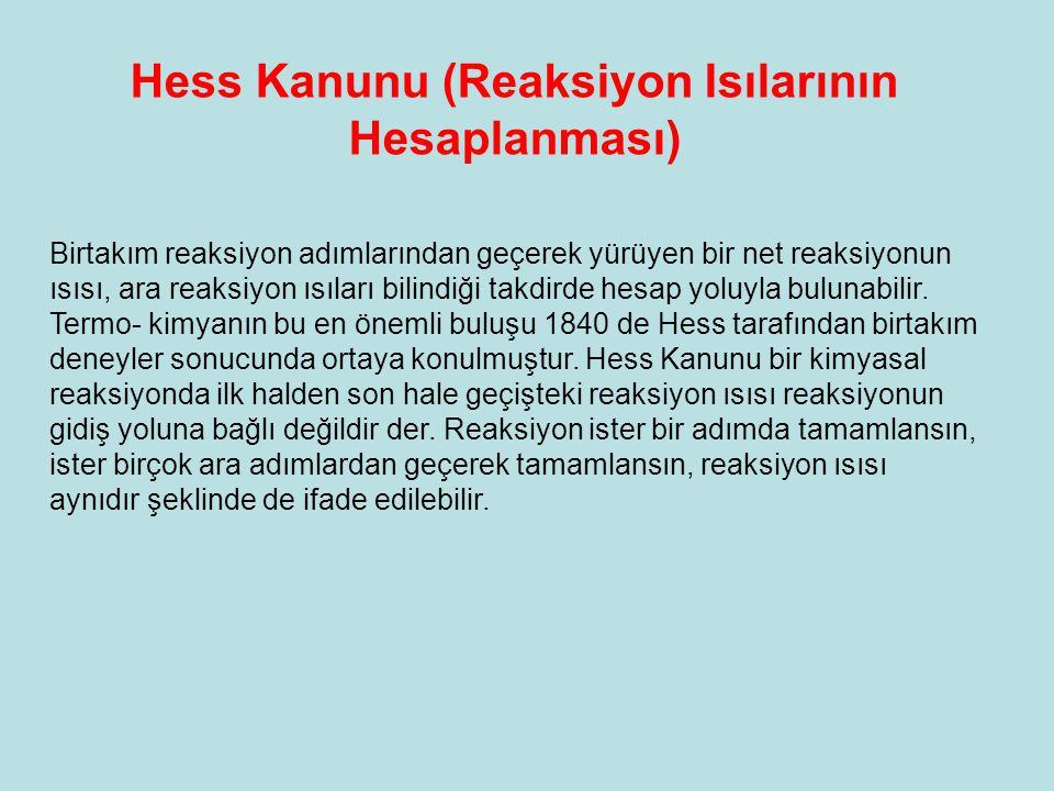 Hess Kanunu (Reaksiyon Isılarının Hesaplanması)
