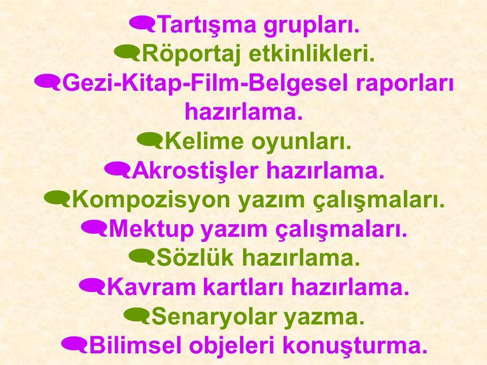 Röportaj etkinlikleri. Gezi-Kitap-Film-Belgesel raporları hazırlama.