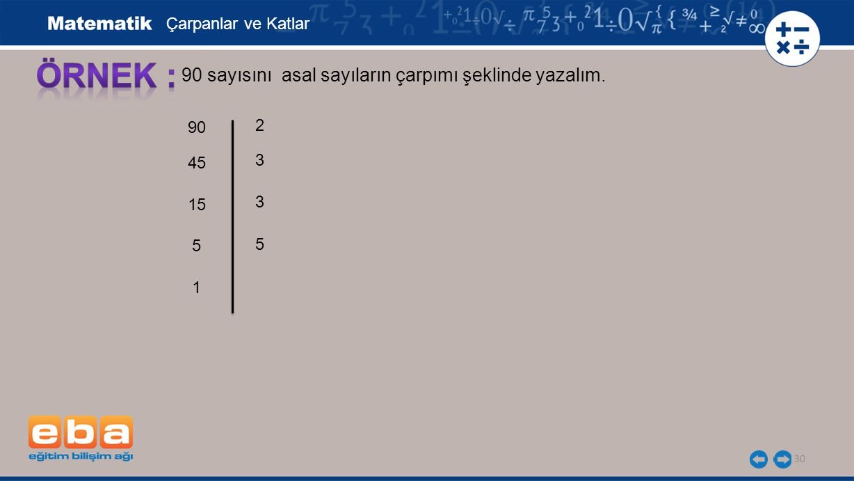 ÖRNEK : 90 sayısını asal sayıların çarpımı şeklinde yazalım.