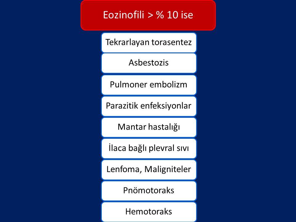 Eozinofili > % 10 ise Tekrarlayan torasentez Asbestozis