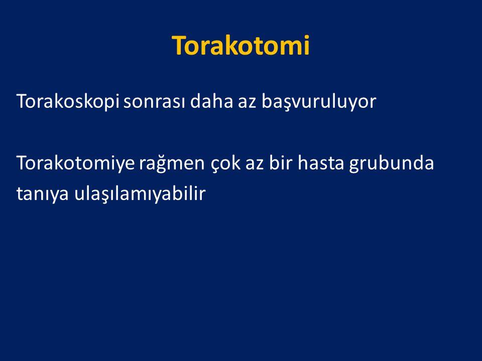 Torakotomi Torakoskopi sonrası daha az başvuruluyor Torakotomiye rağmen çok az bir hasta grubunda tanıya ulaşılamıyabilir
