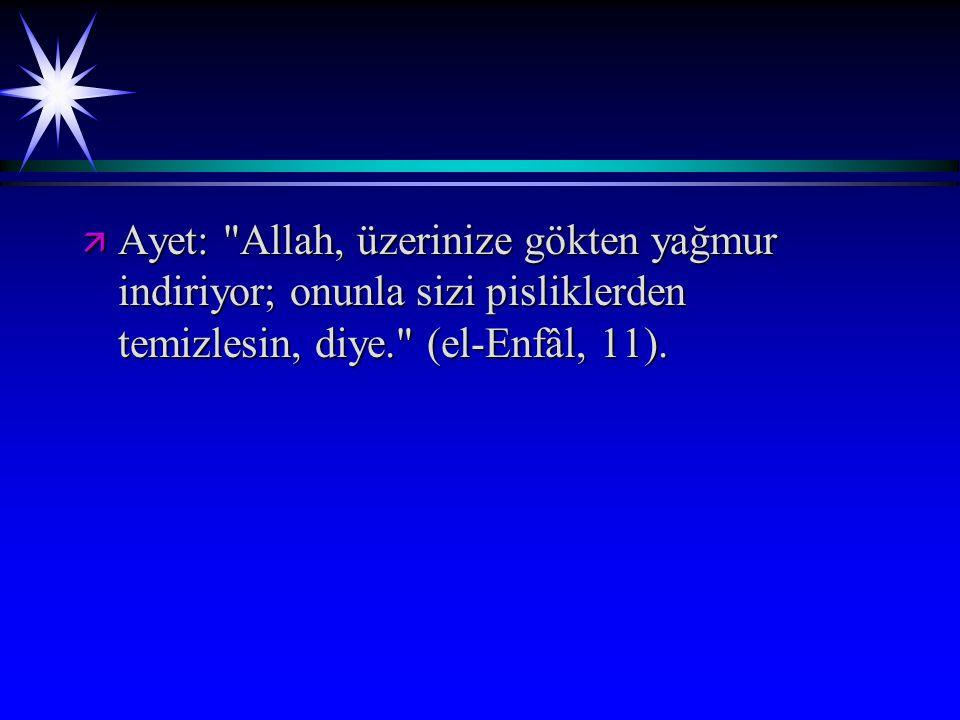 Ayet: Allah, üzerinize gökten yağmur indiriyor; onunla sizi pisliklerden temizlesin, diye. (el-Enfâl, 11).