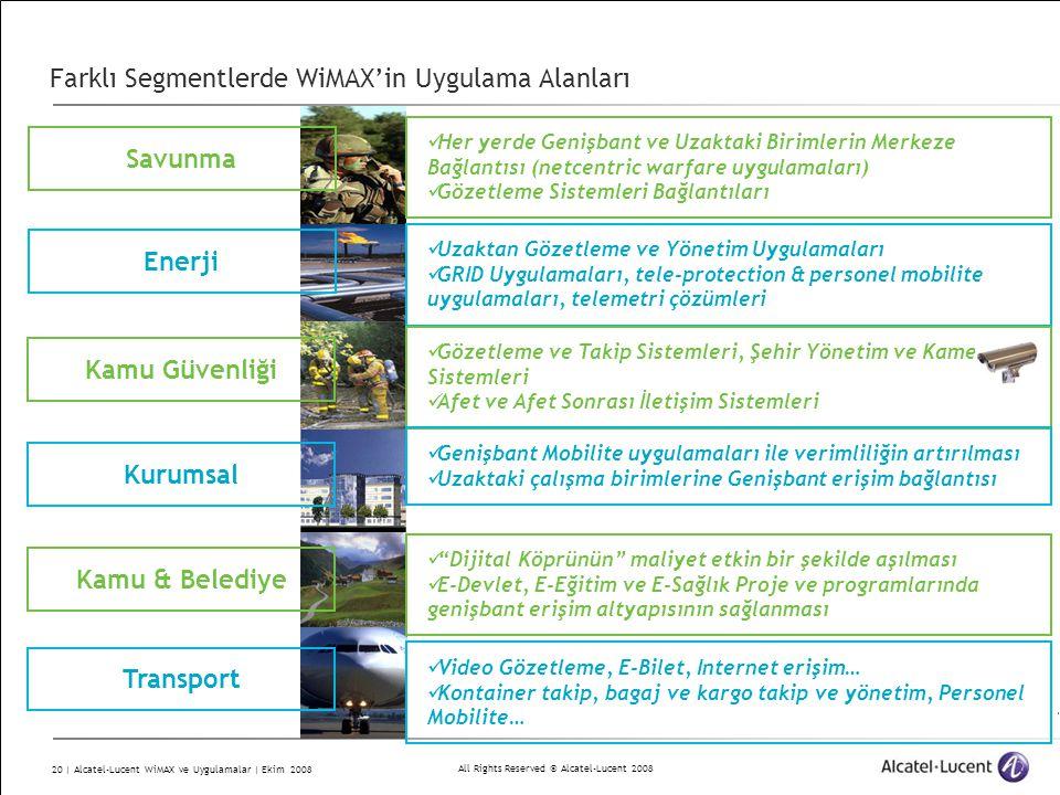 Farklı Segmentlerde WiMAX'in Uygulama Alanları