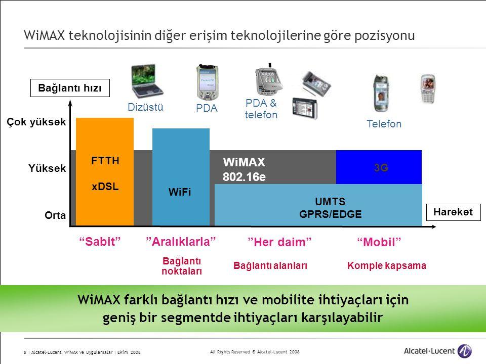 WiMAX teknolojisinin diğer erişim teknolojilerine göre pozisyonu