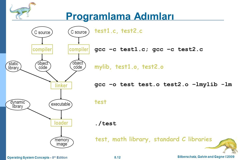 Programlama Adımları test1.c, test2.c gcc –c test1.c; gcc –c test2.c